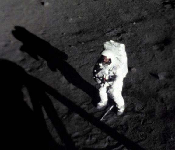 Armstrong on Lunar Surface (1)